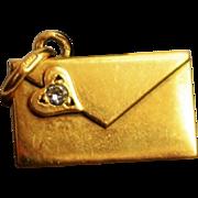 Vintage Golden Love Letter Charm Vintage 18K Gold Diamond Love Letter Pendant Golden Envelope Charm Symbolic Love Token Symbolic Jewelry