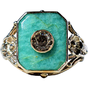 Sterling Silver Amazonite and Crystal Rock Vintage Art Nouveau Ring Vintage Designer Silver Ring Jugendstil Cocktail Ring Art Nouveau Ring 1920s Jewelry