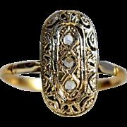French Vintage Art Deco Diamond Ring Vintage Diamond Engagement Ring 1940s Third Anniversary Ring White Vintage 18k Gold Trilogy Ring