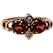 Antique Georgian Rose Gold Garnet and Diamond Ring Antique Rose Gold Garnet and Diamond Ring Georgian Promise Ring 1800s Jewelry