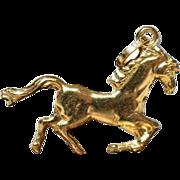 Vintage Golden Horse Pendant Vintage Equestrian Present 18K Gold Horse Charm Vintage Horse Charm Vintage Golden Mount Pendant 1980s Jewelry