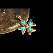 Vintage Golden Turquoise Charm Cross Pendant with Diamond Vintage Turquoise Maltese Cross Pendant Symbolic Jewelry Turquoise Charm 1960s Jewelry