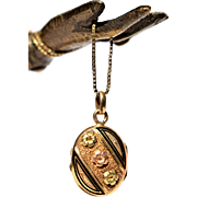 Antique French 24k Gold Pendant Golden Oval Victorian Locket Enamel Golden Locket Double Sided Locket Vintage French Jewelry 1800s Jewelry