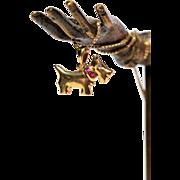 Vintage Golden Dog Charm Vintage 18K Gold Puppy Pendant Set With Rubies and Diamonds Vintage Golden Canine Pendant Vintage 18k Necklace