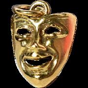 Vintage Golden Comedy Mask Pendant Golden Mask Charm Vintage Laughing Face Charm Vintage Unisex Golden Charm Vintage Gift for Artist