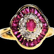 Vintage Art Deco Ruby Diamond Ring Vintage Ruby Engagement Ring Vintage Oval Ruby Diamond 18k Gold Ring 1940s Art Deco Engagement Ring