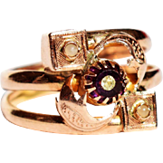 Antique French Amethyst Glass and Seed Pearl Ring Antique 10K Rose Gold Seed Pearl Ring Antique French 1800s Jewelry 19th Century Ring