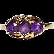 Edwardian Amethyst 14k Gold Trilogy Ring Vintage Amethyst Ring Cocktail Amethyst Ring Antique Amethyst Ring Amethyst Ring 1910s Jewelry