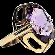 Vintage Art Deco Revival Amethyst Ring Cocktail Amethyst Ring Vintage Modernist Amethyst Ring Vintage Huge Amethyst Ring 1960s Jewelry