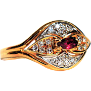 Statement Ruby and Diamond Ring Vintage Cocktail Ruby Ring July and April Birthstone Ring Art Deco Ruby and Diamond Ring