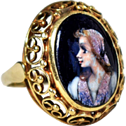 Vintage Limoges Enamel Portrait Ring 18K Blue Enamel DArt Ring Vintage Portrait Ring Antique French Portrait Jewelry