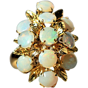 Vintage Art Deco Opal Ring Massive Cocktail Opal Floral Ring Vintage 10k Gold Ring Art Deco Vintage Opal Ring 1940s Jewelry