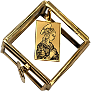 Vintage Italian Holy Mary Locket 24k Gold Saint Pendant Renaissance Holy Mary Pendant Square Religious Pendant 1940s Italian Jewelry