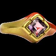 Space Era Amethyst Ring Vintage 14K Gold Amethyst Ring Vintage Cocktail Ring 1960s Amethyst Ring Vintage Square Golden Amethyst Ring