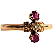 Antique Victorian Rose Gold Trilogy Ring Antique Rose Cut Diamond Ring July Birthstone Ring Antique Third Anniversary Ring Antique Ruby 1800 Ring