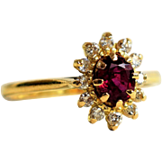 Vintage Engagement Ring Ruby and Diamond Halo Ring July Birthstone Ring Ruby Daisy Ring Engagement Halo Ring 1960s Engagement Ring