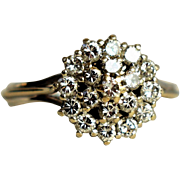Vintage Diamond Engagement Ring Vintage 24K Gold and Platinum Art Deco Diamond Cluster Ring Vintage Diamond Daisy Ring 20th Anniversary Ring 1950 Jewelry