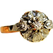 Vintage Engagement Ring Georgian Revival 0.03ct Diamond Proposal Ring Vintage 18k White Gold Daisy Ring 1940s Jewelry