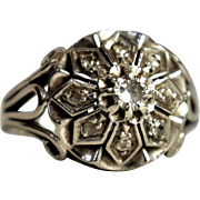 Vintage Engagement Ring Vintage 18k White Rose Cut Diamond Ring Vintage Diamond Cluster Ring Vintage Cocktail Diamond Ring