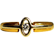 Vintage Classic Solitaire Oval Diamond Ring Vintage Engagement Ring 14K White and Yellow Gold Diamond 0.03 ct Ring