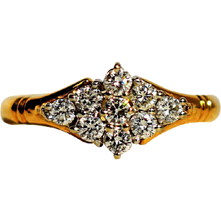 Vintage Cluster 0.54 ct Diamond Engagement Ring 9th Anniversary Diamond Cluster Ring Vintage Anniversary Ring Vintage Engagement Ring