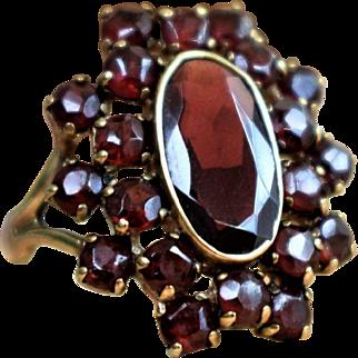 Vintage Garnet Ring January Birthstone Vintage Halo Garnet Ring Big Cluster Garnet Ring Garnet Cocktail Ring Bohemian Garnet Ring