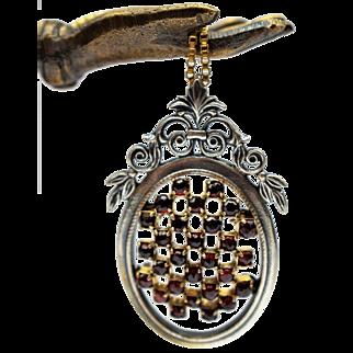Victorian Garnet Necklace Antique Garnet Necklace Oval Silver Necklace Antique Silver Necklace 1800s Jewelry