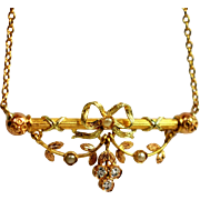 Antique Pearl Lace Bow Necklace Golden Leaf Golden Petal Necklace Antique Golden Seed Pearl Necklace 18k Gold Bar Necklace Golden Petal Leaf Necklace