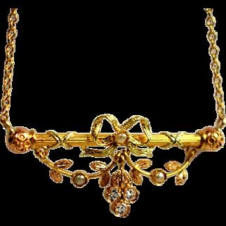 Antique Pearl Lace Bow Necklace Golden Leaf Golden Petal Necklace Antique Golden Seed Pearl Necklace 18k Gold Bar Necklace Golden Petal Leaf Necklace