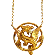 Antique Griffon Chimera Necklace Seed Pearl Necklace Antique Golden Seed Pearl Necklace Golden Chimera Necklace Golden Mythical Griffin