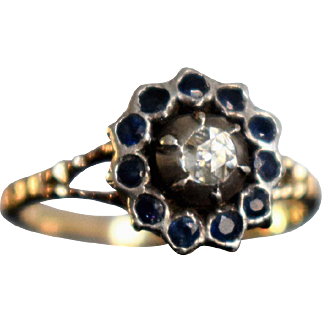 Antique Georgian Rose Cut Diamond and Sapphire Daisy Ring Antique Victorian Sapphire Ring Antique Old Cut Diamond Daisy Ring 1800s Jewelry