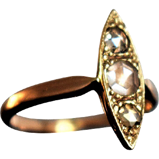 Vintage Rose Gold Navette Diamond Ring Victorian Revival Rose Cut Diamond Ring Vintage Engagement Ring Marquise Ring Third Anniversary Ring