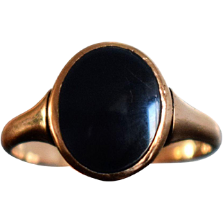 Vintage Rose Gold Onyx Signet Ring German Onyx Ring Minimalist Unisex Signet Onyx Ring Rose Gold Signet Ring 1950s Jewelry