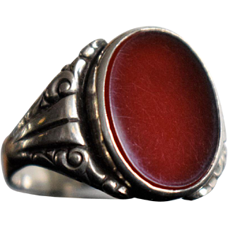 Antique Carnelian Silver Ring German Antique Carneol Ring Art Nouveau Signet Carnelian Ring Jugendstil Silver Signet Ring 1940s Jewelry