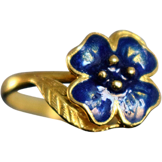 Vintage Golden Forget-me-Not Enamel Ring Italian Blue Enamel Flower Ring Vintage 18k Gold Daisy Ring Symbolic Jewelry Italian Boho Jewelry