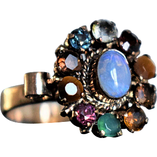 Vintage Rose Gold Opal Cocktail Ring Vintage Multistone Floral Ring Vintage Emerald Sapphire Quartz Tigers Eye Flower Boho Ring Boho Jewelry