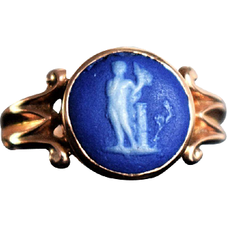 Antique Edwardian Wedgewood Cameo Ring Antique Blue Wedgewood Jasperware Dionysos Ring Edwardian Rose Gold Signet M Ring