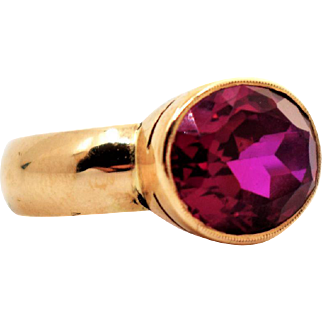 Vintage Golden Ruby Ring Oval 5ct Ruby Ring Vintage Minimalist Ruby Ring Finnish Vintage Pink Ruby Ring Modernist Oval Cocktail Ruby Ring