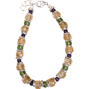 Citrine, Peridot and Amethyst Bracelet