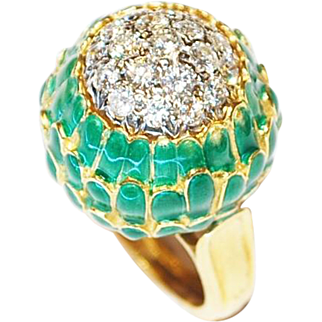 18K Yellow Gold Diamonds & Enamel Ring