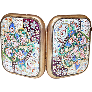 Early 20th Century Russian Silver Enamel Cigarette Case by Dmitrii Aleksandrov Pastukhov for Petr-Karl Faberzhe
