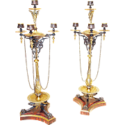 Pair Late 19th Bronze on Marble Candelabras
