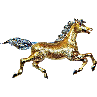 18k Yellow Gold Ruby & Diamonds Horse Brooch