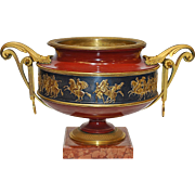 19th Century French Classical Dore Bronze Patinated & Polychrome Decoration Urn on Marble