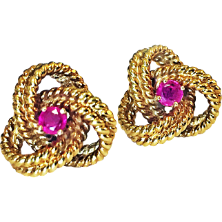 Pair of Tiffany & Co. 18K Yellow Gold Ruby Earrings