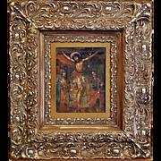 19th Century Oil on Tin Retablo