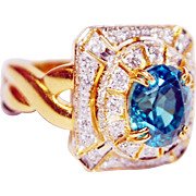 18K Yellow Gold Zircon & Diamond Ring.