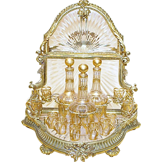 Late 19th Century French Gilt Bronze and Baccarat Crystal Tantalus Set
