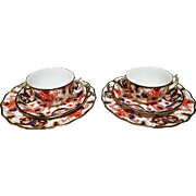 2 Antique Royal Crown Derby Imari Trios, each with a Teacup, Saucer and Dessert or Underplate.
