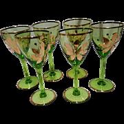 6 Vintage Romania Green Crystal Etched 24K Gold Floral Design Wine Glasses